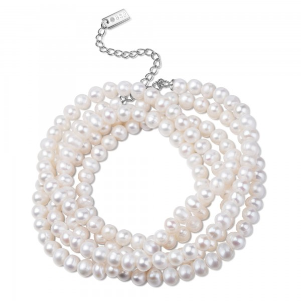 MOE Bracelet-Necklace silver/white pearl